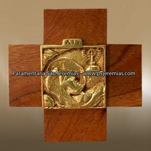 Via-Sacra em latão e madeira