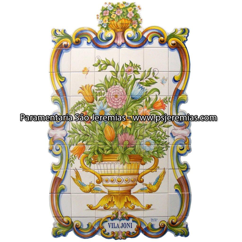 Painel de azulejo pintado a mao.jpg #AA9321 1024x1024